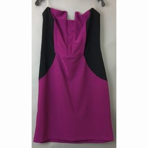 Strapless Magenta Dress with Black Side Panel